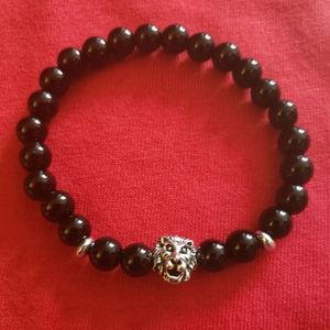 Men's Lionhead Bracelet w/ Blackstone beads